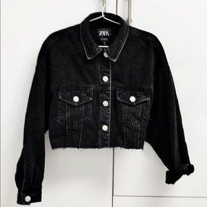 Zara black denim released hem jacket